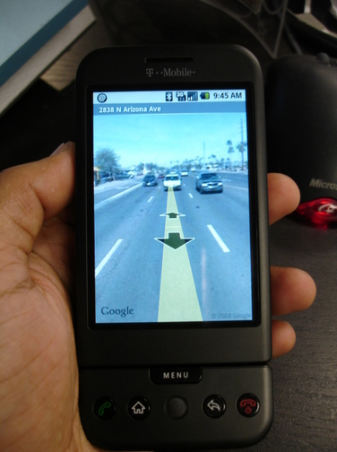 G1 displaying Google Maps Street View