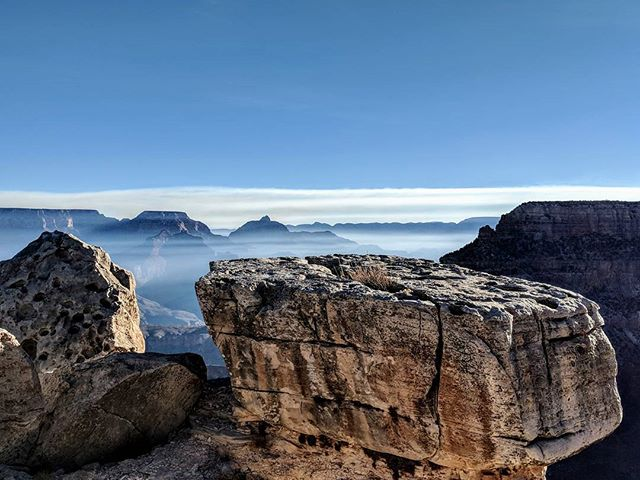 Capstone made of limestone at the South Rim of the Grand Canyon. The clouds (fog from where we were!) gave the canyon a sort of unearthly appearance.  #arizona #az #grandcanyon #nature #naturephotography #landscapephotography #landscape #amateurphotographer #amateurphotography #photographer #photography #picoftheday #pictureoftheday #pixel2xl #pixel2xlphotography