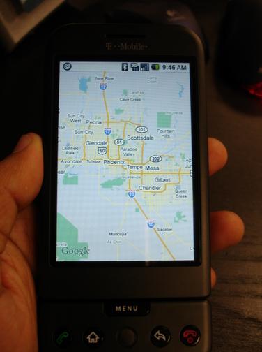 G1 displaying Google Maps