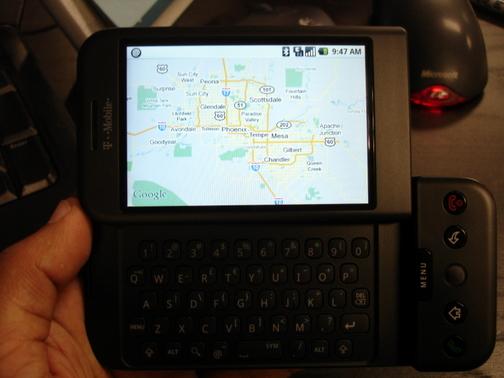 G1 displaying Google Maps (side view)