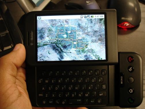 G1 displaying Google Maps Satellite View (side view)
