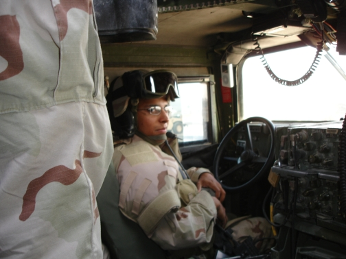 In the humvee